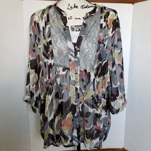 cj banks sheer floral top size 1x